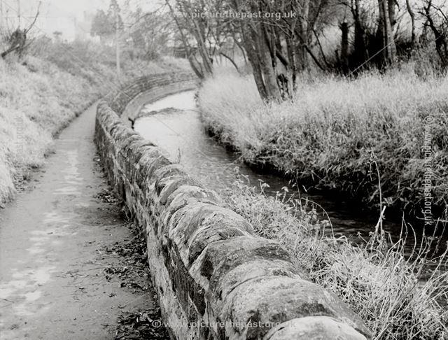 Brook Walk, alongside Ecclesbourne river, Tamworth Street, Duffield, c 1960s