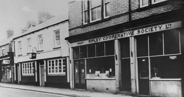 Ripley Co-op, pub and Dilks hairdressers on Grovesnor Road, Ripley, 1960s