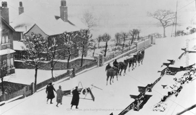 Horse drawn snow plough, Heage Road, Ripley, c 1930