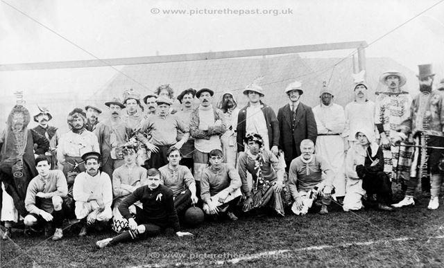Queens Head Comforts Fund Comic Football Match, High Street, Riddings, 1914-18