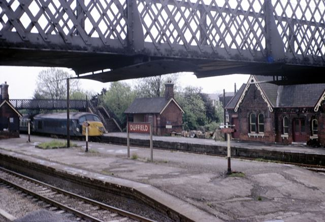 Train approaching Duffield Station, 1966