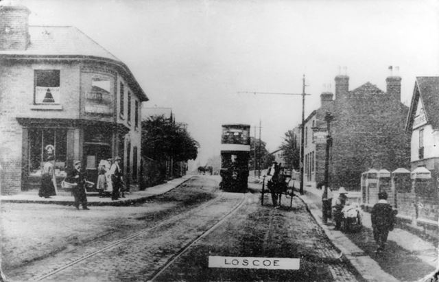 Tram, near junction with Denby Lane