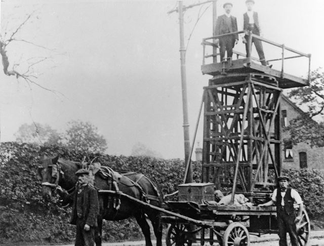 Horse drawn tower for repairing tram wires