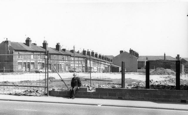 Site cleared to build the new Co_op 'price fighter' store, High Street, Ripley 1980