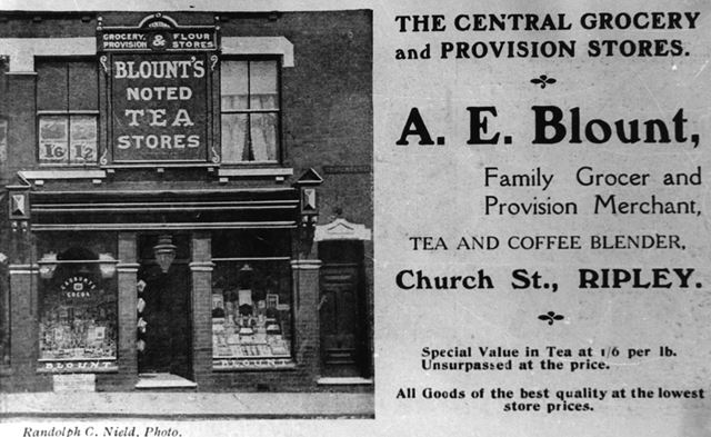Advertisement for Blounts Grocery and Provision store c 1917