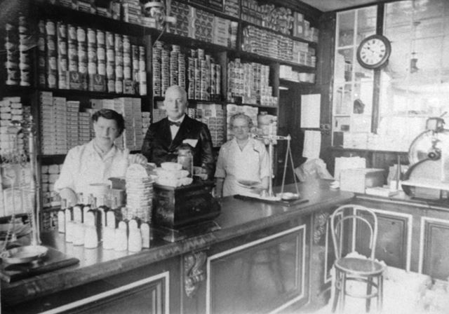 Fred Allsop's grocers shop interior, Ripley 1908