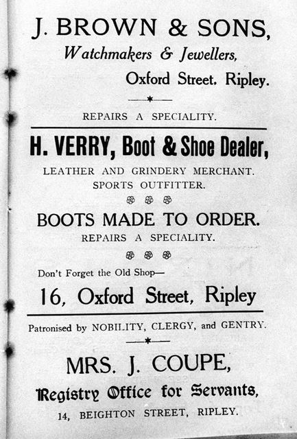 Advertisement for J Brown, jewellers and H Verry, boot and shoe dealer, Riipley 1927