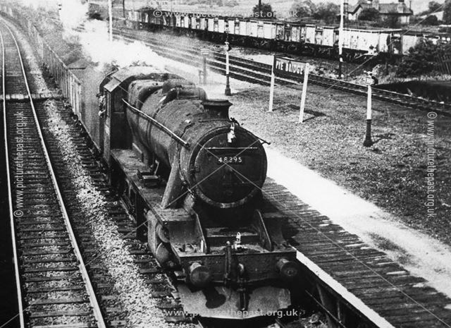 Train entering Pye Bridge station, Pye Bridge, near Somercotes, 1930s?