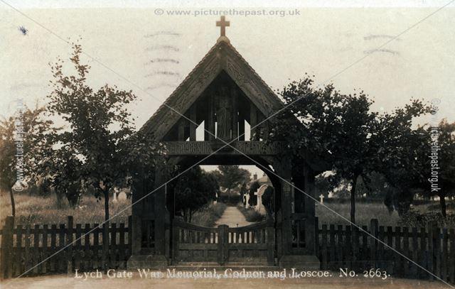Lychgate war memorial at Cross Hill Cemetery, Cross Hill, c 1920 ?