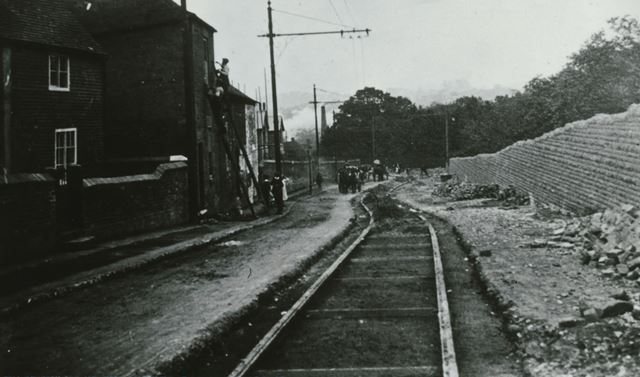 The laying of tram lines through Loscoe
