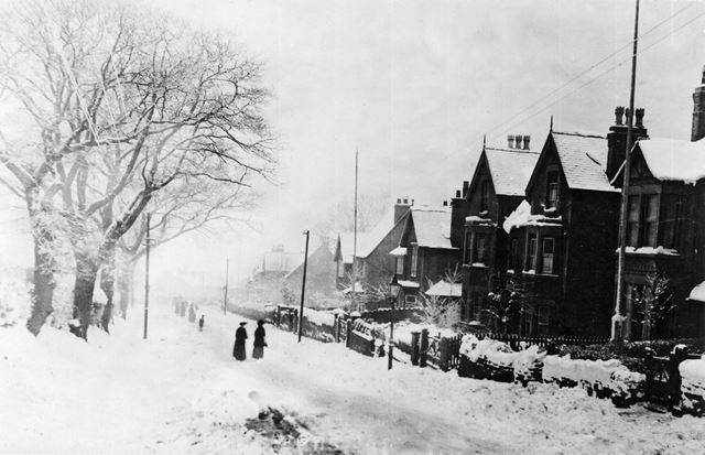 Mansfield Road in Snow, c 1930s
