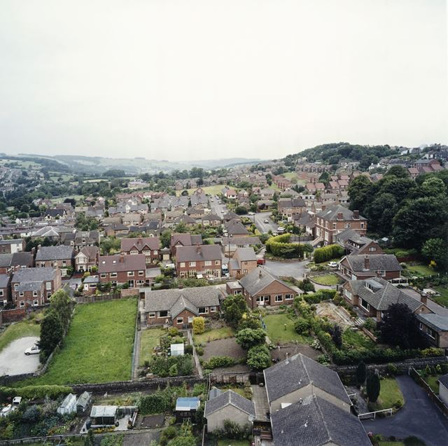 View North from St Peter's Church, Belper, c 1995