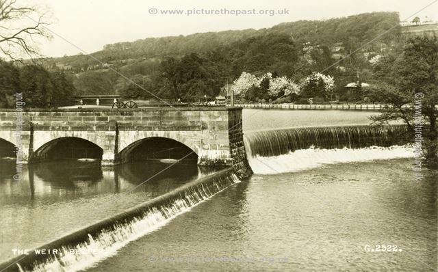 River Derwent Bridge and Weir, Belper, c 1930