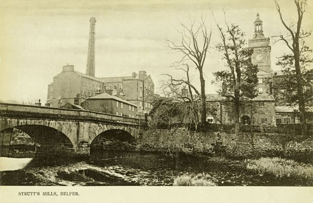 View of Strutt's Mills and Belper Bridge over the River Derwent, c 1900