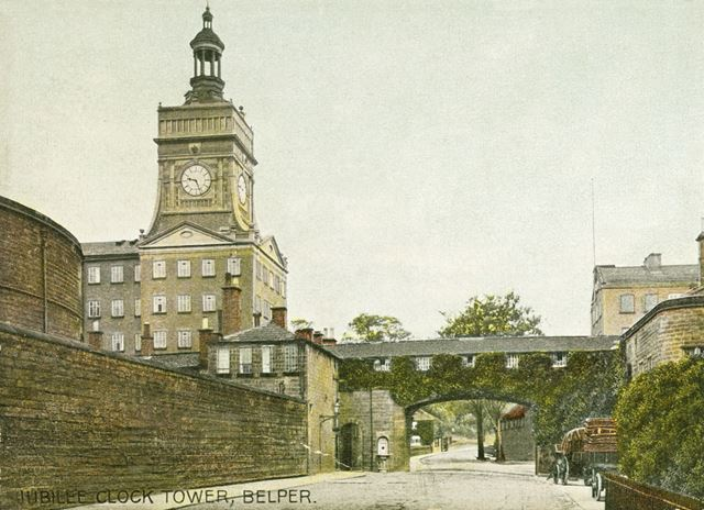 View of Belper Mills showing the Jubilee Clock Tower, c 1900