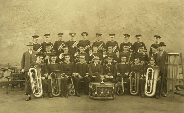 Stanton Ironworks Band, possibly taken at Stanton Ironworks, Stanton-by-Dale, c 1920