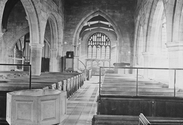 St Alkmund's interior, before restoration, Church Drive, Duffield