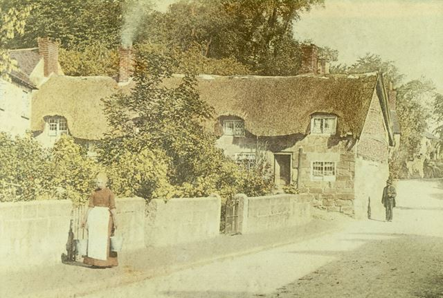 Thatched Cottage on site of Church Hall, King Street, Duffield, c 1900s