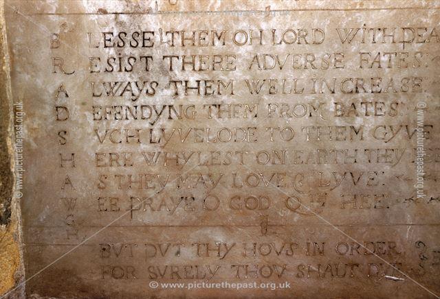 A Bradshaw acrostic (second verse), St Alkmund's Church, Church Drive, Duffield