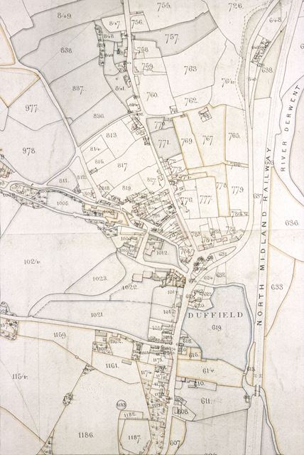 1840 Survey Map of Centre of Duffield Village