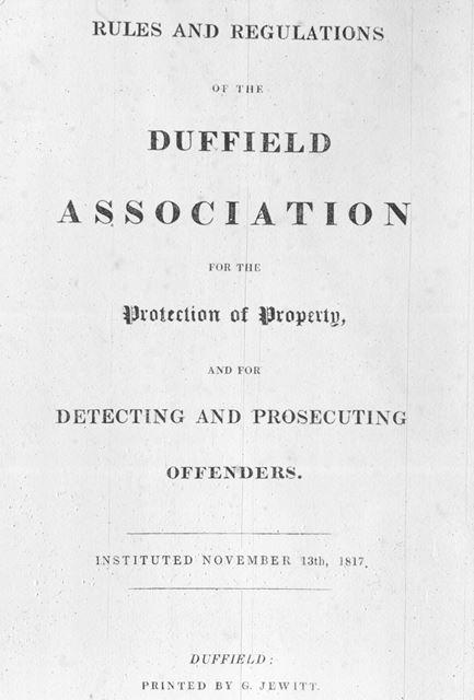 Duffield Association for protection of Property, 1817