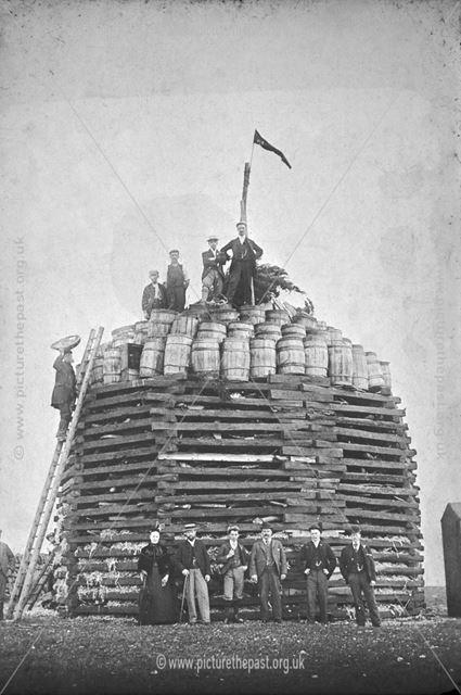 Jubilee Bonfire, Chevin, between Duffield and Belper, c 1897?