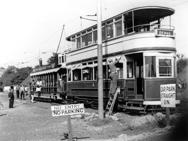Tram and open sided trolley, Tramway Museum, Crich, c 1960