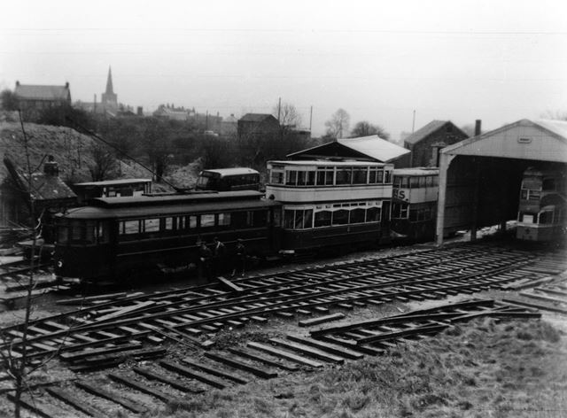Looking down on the trams, Tramway Museum, Crich, c 1960