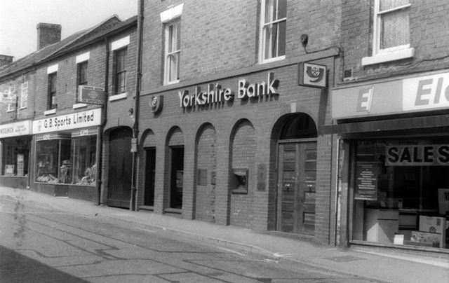 Yorkshire Bank and shops, Oxford Street, Ripley, c 1980s