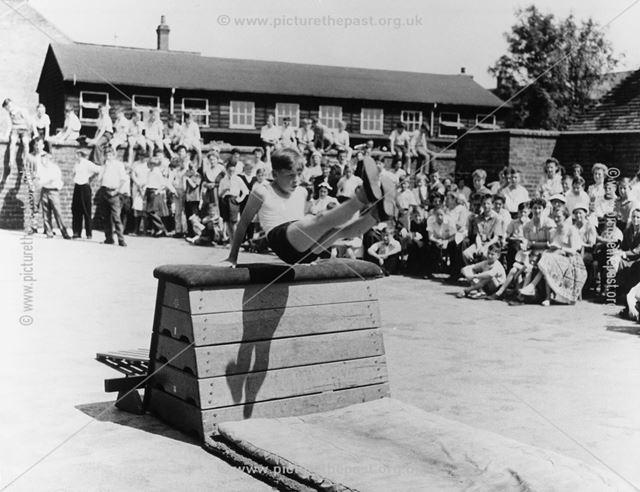 Open Day Gymnastics Display, County Senior Boys School, Shirley Road, Ripley, c 1954