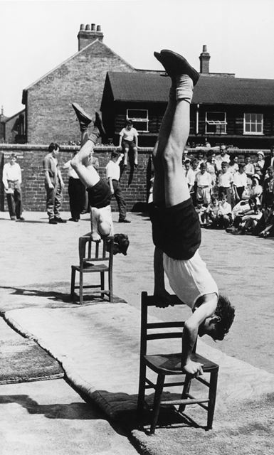 Open Day Gymnastics Display, County Senior Boys School, Shirley Road, Ripley, c 1954