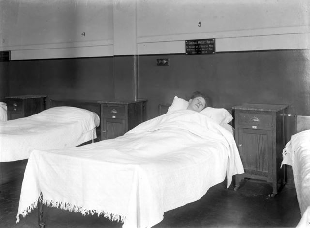 Patient in Greenall-Whitley gifted bed - The Devonshire Royal Hospital