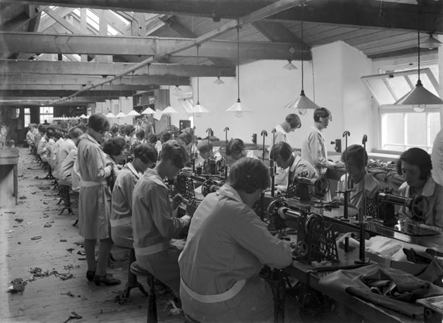 Sewing room at Baker and Sons, clothing factory