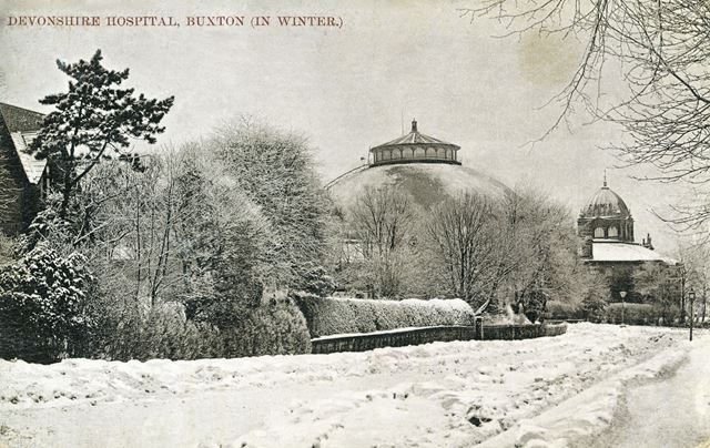 Manchester Road and Devonshire Hospital in snow, Buxton, c 1906