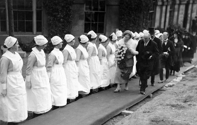 HRH The Princess Mary visiting the Devonshire Hospital, Buxton, 1921