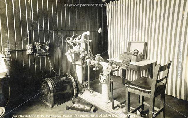Arthromotor-Electrical Room, Devonshire Hospital, Buxton, pre 1934