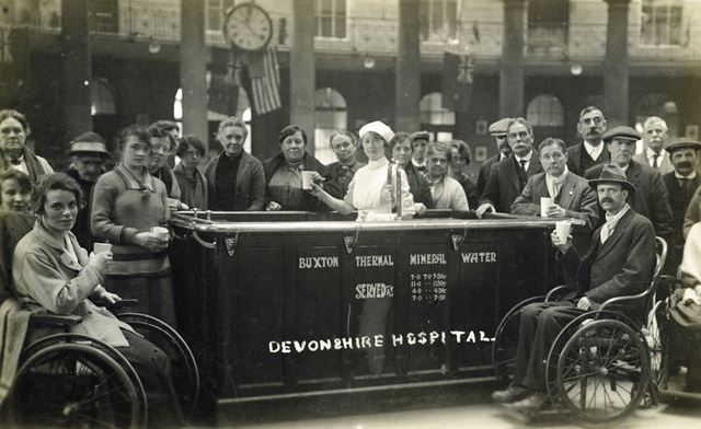 Dispensing thermal water at the Devonshire Hospital, Buxton, c 1920 ?
