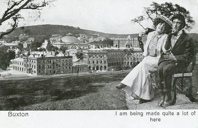 Novelty postcard showing a courting couple superimposed on a view of The Crescent, Buxton, c 1910 ?
