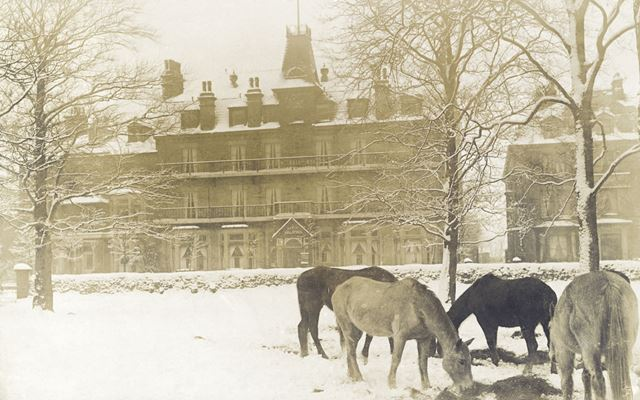 Haddon Hydro in snow, London Road, Buxton
