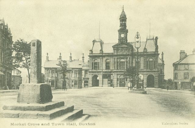 Market Cross and Town Hall, Buxton, c 1906