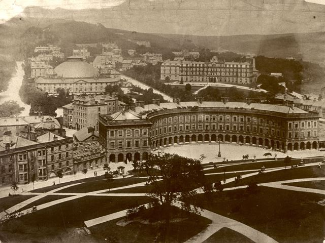 View of the Crescent, Palace Hotel, Devonshire Royal Hospital and George Mansions