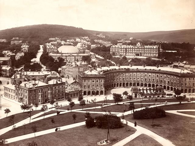 The Crescent, Old Hall Hotel, The Slopes, Palace Hotel, Pump Room and Devonshire Royal Hospital