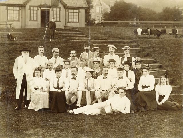 Ladies/gents, cricket/rounders team -outside Buxton Cricket Pavilion?