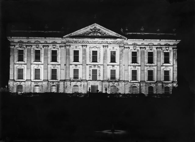 Chatsworth floodlit on occasion of Lord Hartington becoming 10th Duke of Devonshire, 1939