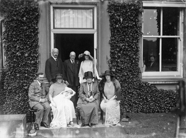 9th Duke of Devonshire and Maude, Lady Baillie at a Cavendish family christening at Ranger House, 19