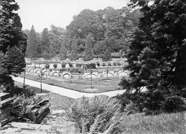 The gardens laid out in the foundations of the Great Stove House and tennis courts at Chatsworth Hou