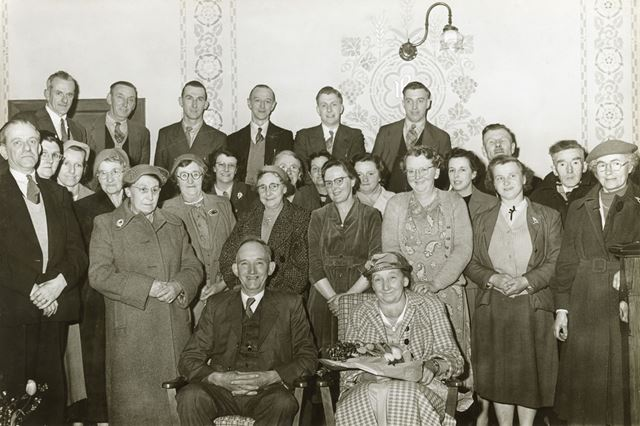 Presentation to Mr and Mrs Whitehead of Hugh Bourne Choir, Hayfield, c 1950s-60s