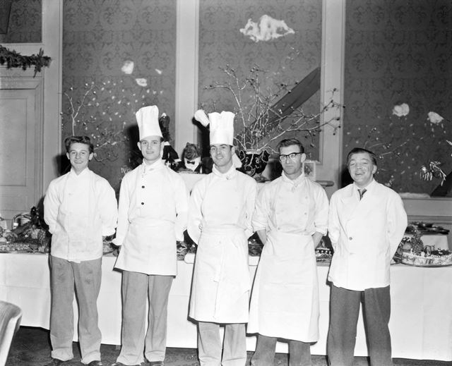 Chefs and kitchen staff, Christmas Day buffet, St Anne's Hotel, The Crescent, Buxton, 1956