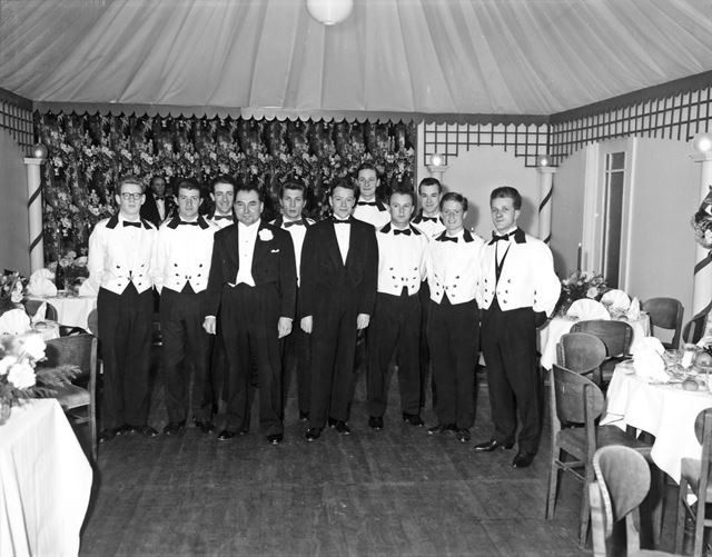 Staff group in new marquee at The Palace Hotel, Palace Road, Buxton