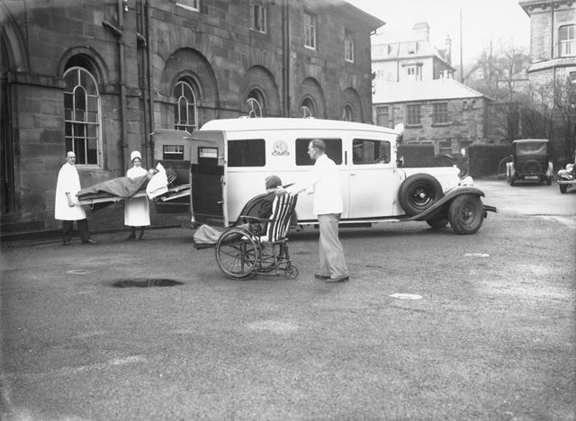 Patients Arriving by Ambulance, Devonshire Royal Hospital, Devonshire Road, Buxton, 1936